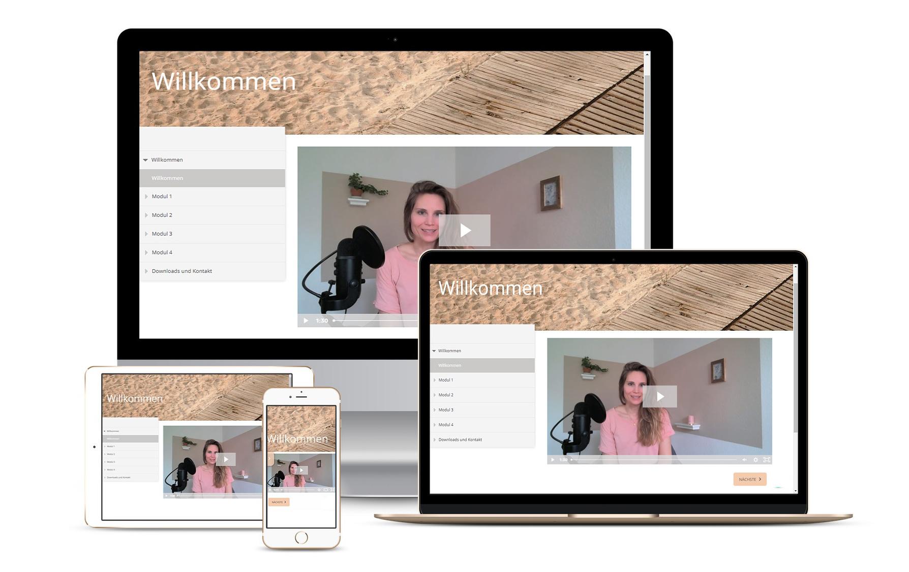 Verschiedene Screenshots zeigen den Kurs